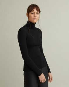 Fine merino wool turtleneck with fitted silhouette. Turtleneck Long sleeves Form-fitting wool Model is 178 ft 10 in and is wearing a size S Jil Sander, Apothecary, Acne Studios, Marni, Designing Women, Turtleneck, Merino Wool, Fashion Brands, High Neck Dress