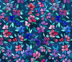 Southern Summer Floral in navy and color fabric by micklyn on Spoonflower - custom fabric