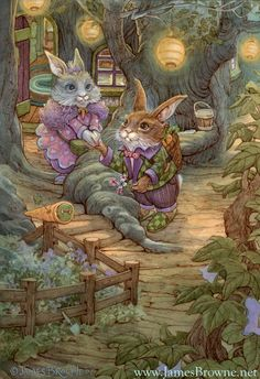 Lovely illustrator.  Bunny Love 12x18 Giclee Signed  limited Edition by brownieman, $40.00