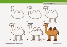 cara menggambar unta untuk paud (anak SD/TK)