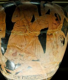 Philoctetes, wounded, is abandoned by the Greek expedition en route to Troy, detail of an Attic red-figure stamnos, ca. 460 BC