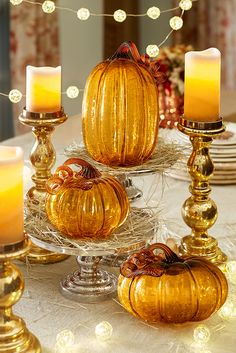 Whether its the richness of the amber color or the crackled rock-candy texture of the handblown glass, Pier 1's spectacular Amber Crackle Glass Pumpkins create an inordinate amount of visual impact for their size.