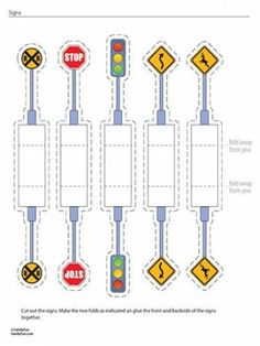 Print some of these road signs out for use spray adhesive to affix them to a cereal box before cutting them out. Add to blocks station during Transportation unit! Paper Toys, Paper Crafts, Transportation Theme, Printable Activities For Kids, Construction Party, Printable Paper, Free Printable, Paper Houses, Street Signs