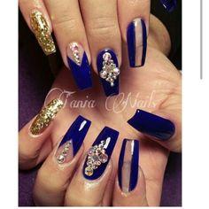 Beautiful Royal Blue And Gold Nails My Nail Art Obsession