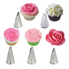 5 Pcs/Set Rose Petal Metal Cream Tips Cake Decorating Tools Steel Icing Piping Nozzles Cake Cream Decorating Cupcake Pastry Tool