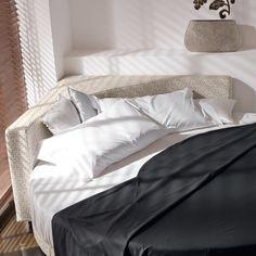 Wheel circular bed with corner headboard - ARREDACLICK More