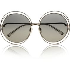Chloé Carlina round-frame metal sunglasses (€225) ❤ liked on Polyvore featuring accessories, eyewear, sunglasses, glasses, очки, neutrals, round frame, clear glasses, clear lens sunglasses and round sunglasses