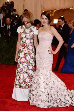 Anna Wintour in Chanel couture and her daughter Bee Schaffer in Christian Dior couture at the Met Gala 2013.
