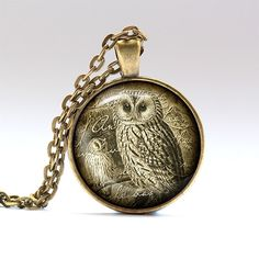 Bird pendant Owl charm Vintage jewelry RO59 by UKnecklace on Etsy