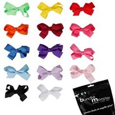 Bundle Monster 14pc Multicolor Satin Grosgrain Ribbon Bow Girls Hair Clip Set