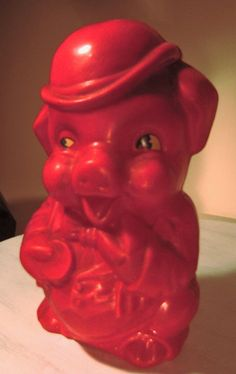 Vintage Irwin Red Plastic Piggy Bank Painted Eyes by 24northmain