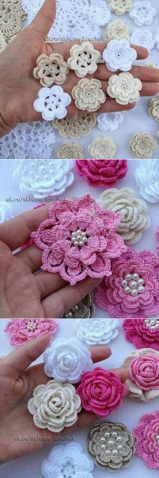 Pretty folded petal flowers, add them to your projects. a href='/tag/crochet'#crochet/a