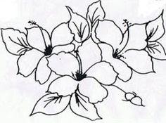 risco pintura em tecido flores hibiscos