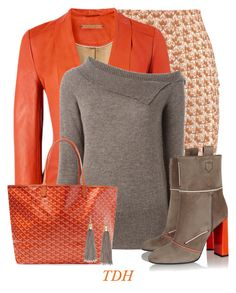 """""""Orange Leather Jacket"""" by talvadh ❤ liked on Polyvore featuring Missoni, Richards Radcliffe, Société Anonyme, Fendi and Goyard"""