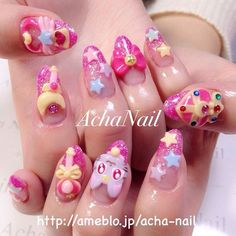 sailor moon gel nail achanail's photo on Instagram