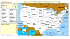 U.S. STATE CAPITALS~  Great online tutorial and game to help students memorize them all!  US Geography