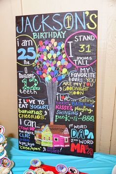 Disney * Pixar UP Movie Theme -- chalkboard for 1st birthday party Recommend using CHALK THIS WAY brand chalk markers
