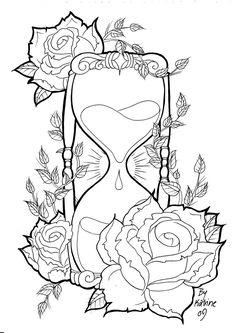 Hourglass Skull Coloring Pages Skull Coloring Pages, Printable Adult Coloring Pages, Coloring Pages To Print, Coloring Books, Rose Coloring Pages, Coloring Sheets, Adult Colouring Pages, Mandala Coloring, Doodle Drawing