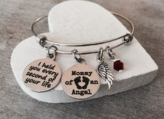 Mommy of an Angel, Forever in my heart, Charm Bracelet, Loss of Baby, Miscarriage, Silver Bracelet, Loss of Child, Jewelry, Baby Memorial by SAjolie, $36.95 USD