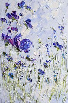 Blue Painting Flower Prints on Canvas Art Floral Nursery Print