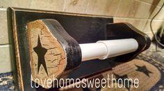 Primitive Crackle Tan & Black Stars Wood Toilet Paper Holder  Country Farm Decor #NaivePrimitive