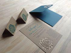 Handmade Wedding Invitation DIE Cut Rose Wedding by TheFindSac