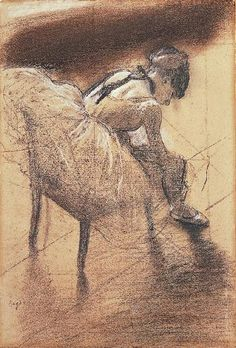 Edgar Degas  - Seated Dancer Rubbing Her Leg.  Charcoal with white and dark brown pastel on gray-brown laid paper