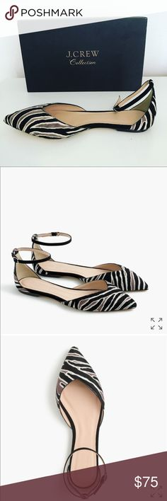 jcrew 🌟collection🌟 sadie ankle strap flats these are probably the most gorgeous shoes i have ever owned but they are tragically 1/2 size too big for me 😩 😩 my loss is your gain!! beautiful black, white, & tan zebra print on genuine calf hair. leather soles. worn maybe twice, these beauties are in great condition and are a true size 8. J. Crew Shoes Flats & Loafers