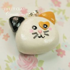 Calico Kitten Cat Kawaii Charm Polymer Clay Jewelry Sweet Clay Creations