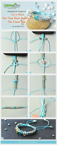 Pandahall DIY Project on How to Make Nylon Thread Braided Bracelet with Glass European Beads from LC.Pandahall.com | Pinterest by Jersica