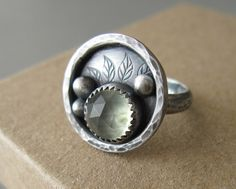 Ring | Sarah of ArmillataDesigns. Pale green prehnite and sterling silver.