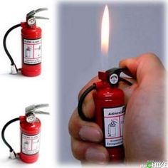 The mini fire extinguisher lighter is a cool twist on the tried and true fire extinguisher. Made from solid metal, the mini fire extinguisher lighter is refillable and has an adjustable flame and makes a great stocking stuffer gift idea for smokers. Geek Gadgets, Gadgets And Gizmos, Cool Gadgets, Choses Cool, Cool Lighters, Firefighter Gifts, Take My Money, Light My Fire, Cool Inventions