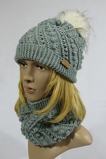 589f794ffbb I designed a knitted chevron hat and cowl after my crocheted one. Snowball