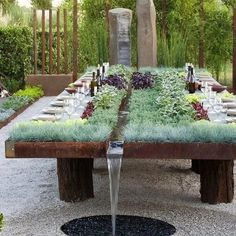 large outdoor dining table with self-watering herb garden in centre. Plant Table, Garden Table, Garden Art, Garden Picnic, Garden Beds, Outdoor Tables, Outdoor Dining, Dining Table, Patio Table