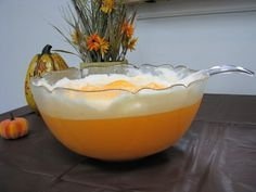 Great for Fall Kids Parties!! Dreamsicle Orange Punch 1 Quart Orange Sherbet: 1 Quart Vanilla Ice Cream: 1 Liter Of Sprite or 7Up. 1 Can Of Cream Soda. Pour 1 Liter Sprite or 7Up Into A Large Punch Bowl. Scoop Softened Sherbet and Vanilla Ice Cream Into The Bowl. Add 1 Can Of Cream Soda And Stir.