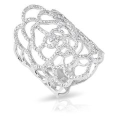 14KT White Gold Diamond Camellia Ring (€1.800) ❤ liked on Polyvore featuring jewelry, rings, white gold rings, wide rings, white gold jewellery, diamond jewelry and diamond rings