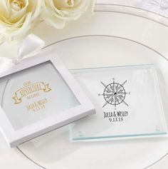 Personalized Glass Coasters with Travel design. Destination wedding favor ideas.
