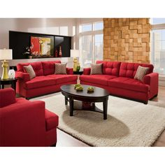 Love, love, love everything about this living room. Especially the red couches! Very similar to the ideas I have for my living room.