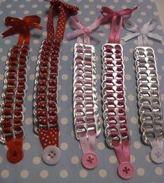 pulsera anilla de latas ref.040 cinta,anillas de lata enlazado