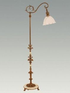 ANTIQUE 1920s? Bent Bridge FLOOR LAMP w/JADEITE GREEN GLASS Art ...