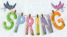 Spring is in the air in a flowery clothesline design for wall hangings, pillows, towels, and more!
