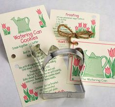 """How Does Your Garden Grow""  The card includes the Cookie Recipe & Frosting Recipe.  The handle is great for the little pastry chef.   Can be used for desserts, snacks, decorations & any other project you might think of.  Size: 4"" High  Made in the U.S.A."