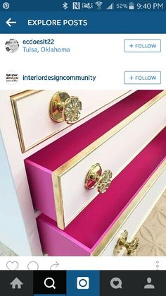 Don't forget that painting the inside drawers of the pieces you rescue creates a beautiful surprise every time you open them! Gilding a small gold band around the drawer and hardware can add an additional element of glam. Funky Furniture, Refurbished Furniture, Paint Furniture, Repurposed Furniture, Furniture Projects, Furniture Makeover, Gold Leaf Furniture, Furniture Restoration, Decoration
