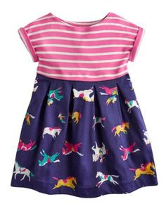 Joules Girl's Mix and Match Dress, Navy Pony Club.                     We love this mix and match hotchpotch of a dress and we think your girl will too.  Comfortable and fun, what more could you ask for?