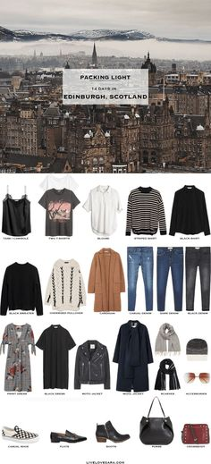 What to pack for Edinburgh, Scotland #packinglight #travellght #travel #travetips #livelovesara #capsule #capsulewardrobe