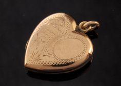 Vintage Gold Heart Locket Pendant in 9k Gold by BelmontandBellamy