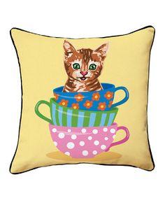 Loving this Teacup Kitten Throw Pillow on #zulily! #zulilyfinds