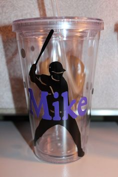 16oz Personalized Baseball Tumbler by jaylillie on Etsy, $13.00