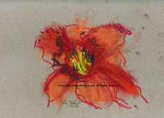 Original Pastel Painting, 9x12, pastel on paper, 2012, Orange Day Lily by Cathy Rodgers, $50.00
