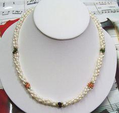 Triple Strand Freshwater Pearls With Jade,B.Onyx Coral & 14K GF Necklace.FWMCN03  | eBay £35.00 (BOA) USA